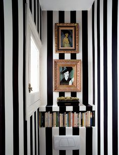 black & white striped powder room