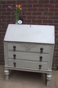 Painted Oak Writing Bureau Desk Drawers Shabby chic on Etsy, £175.00