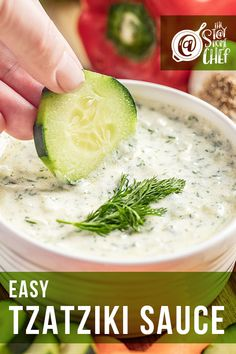 Easy Tzatziki sauce is light, creamy, and full of bright flavors, making it a versatile sauce. You can use it as a dipping sauce for breads or vegetables, on gyros, or as a condiment. You'll be amazed at how quickly this recipe comes together. #tzatzikisauce Authentic Tzatziki Sauce Recipe, Homemade Tzatziki Sauce, Egg Recipes For Breakfast, Easy Dinner Recipes, Appetizer Recipes, Large Family Meals, Beef Fajitas, Greek Dishes, Home Chef