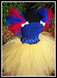 SNOW WHITE Inspired Crocheted Tutu Dress and Red Satin Bow Headband - Small 12/18mos. $55.00, via Etsy.