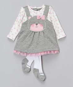 This Gray Bear & Flowers Dress & Tights - Infant is perfect! #zulilyfinds