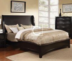 Queen Size Delphie Black Solid Wood Wingback Design Bed Frame