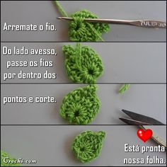 Cris Crochê com Amor: PASSO A PASSO FLOR DE CROCHE PARA INICIANTES Crochet Leaves, Knit Or Crochet, Crochet Flowers, Cactus Amigurumi, Crochet Designs, Crochet Projects, Free Pattern, Crochet Earrings, Diy Crafts