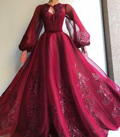Details - Currant color - tulle fabric - Handmade embroidered flowers - Party dress Weeding dress Evening dress veils for ball gowns Burgundy QueenLove TMD Gown Elegant Dresses, Pretty Dresses, Formal Dresses, Long Dresses, Dress Long, Prom Dresses Long Sleeve, Dresses Dresses, Red Long Sleeve Gown, 1700s Dresses