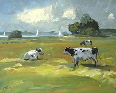 Werken in Acryl - Galerie Offingawier acryl op board 24x30cm ©Gert-Jan Veenstra www.galerie-offingawier.nl Sheep Art, Abstract Landscape, Beautiful Eyes, Contemporary Art, Canvas, Cow Painting, Artwork, Cows, Animals