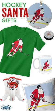 Looking for the best hockey Christmas gifts?  Check out our Santa hockey products for the important hockey player in your life!  Our slap shot santa tee, santa hockey puck, santa ornament and more would make great gifts for any hockey player or hockey fan this Christmas!  Only from chalktalksports.com!