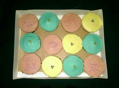 Birthday cupcakes. Vanilla cupcakes with baby pink and lemon yellow, vanilla flavour frosting and turquoise,  lemon flavour frosting