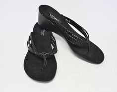Vionic Ramba Braided Faux Leather Thong Sandals 10/41 Black Wear w/Shorts Vegan #Vionic #Thongs #CasualParty