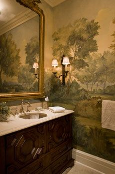 Green and brown nature inspired powder room with antique gold mirror and beautiful double sconces SLC INTERIORS - Interior Design - Weston Georgian Manor Home bathroom