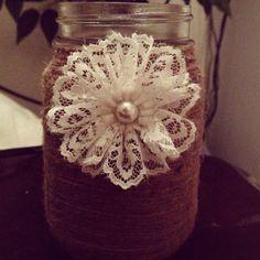 Twine and lace mason jar