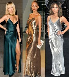 Rihanna, Nicole Richie and Zoe Kravitz in maxi slip dresses.