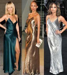 Rihanna, Nicole Richie and Zoe Kravitz in maxi slip dresses.