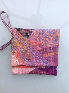Crazy little purse,vintage dyed fabrics.Debbie Irving