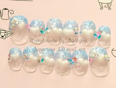 Blue glitter tips with 3D hearts and gems, SMALL and very short, 12 pieces