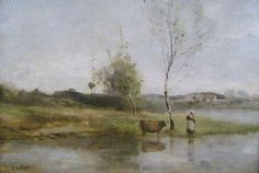 Jean-Baptiste-Camille Corot Oil Painting River Landscape from ...