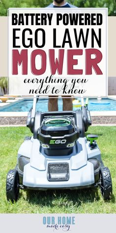 A review of the EGO mower in a small yard. Find out about the battery-powered lawn mower and why it's a great choice for busy families! #ad #ourhomemadeeasy #home Small Lawn Mower, Battery Powered Lawn Mower, Self Propelled Mower, Lawn Service, Diy Home Accessories, Diy Home Repair, Diy Bench, New Homeowner, Do It Yourself Home