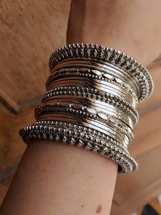 Gold And Silver Earrings Hoops Silver Jewellery Indian, Silver Bangles, Silver Earrings, Silver Ring, Indian Bangles, Gold Jewellery, Damas Jewellery, Earrings Uk, Hand Jewelry