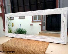 Espejo de madera azul celeste hecho a mano 113 por MuellerDesignsEU