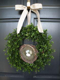 All Season Boxwood Wreath with Robin's Egg Nest.