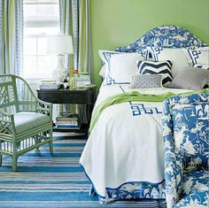 blue toile with lime green chinoiserie chair and greek key on bedding