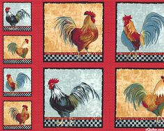 Country Kitchen Roosters Quilt Fabric Panel by Windham / x Fabric Panel / Quilt Panel by SewWhatQuiltShop on Etsy Fabric Panel Quilts, Cotton Quilting Fabric, Cotton Quilts, Fabric Panels, Patchwork Quilting, Applique Quilt Patterns, Hanging Fabric, Cotton Crafts