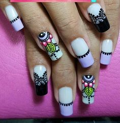 Fingernail Designs, Diy Nail Designs, Mandala Nails, Magic Nails, Flower Nails, Perfect Nails, Nail Arts, Short Nails, Manicure And Pedicure