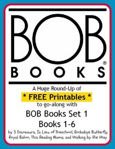 Round-up of our first FREE 6 printable sets to go along with BOB Books Set 1 Books 1-6! {Great for Beginning Readers}