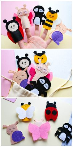 Educational summer finger puppets Toddler toys for kids birthday baby butterfly snail ladybird spider bee made of felt. Finger puppets set with anim Montessori Toddler, Montessori Toys, Toddler Toys, Baby Toys, Kids Toys, Educational Toys For Kids, Felt Puppets, Puppets For Kids, Felt Finger Puppets