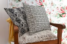 Patterned pillows from Halfdrop Beautiful Homes, Throw Pillows, Blanket, Interior, Pattern, House, House Of Beauty, Toss Pillows, Cushions