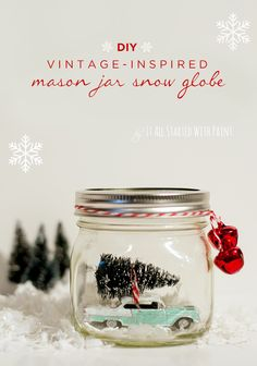 Add a bit of vintage charm to your holiday mantel with this DIY Mason Jar Snow Globe—complete with vintage car and mini Christmas tree! This step-by-step tutorial will show you how easy it is to make this adorable craft to add to your holiday home decor.