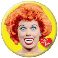 i love lucy button | Love Lucy Crazy Face Button 81032