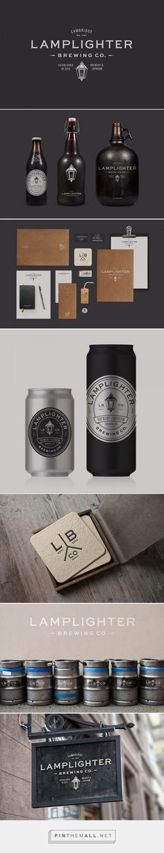 Lamplighter Brewing Co. on Behance. - a grouped images picture - Pin Them All Brand Identity Design, Graphic Design Branding, Corporate Design, Label Design, Logo Branding, Bottle Packaging, Brand Packaging, Brewery Logos, Brewery Design
