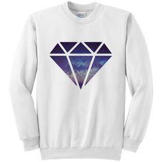 Galaxy Diamond Long Sleeve White Unisex Crewneck Sweatshirt (€22) found on Polyvore featuring tops, hoodies, sweatshirts, silver, women's clothing, crewneck sweatshirt, white crew neck shirt, crew neck shirts, crew neck sweatshirts and diamond sweatshirt