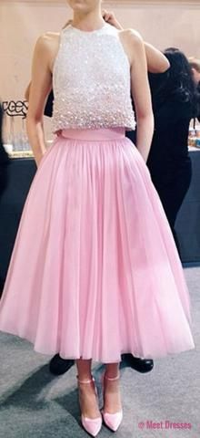 2 Piece Prom Gown,Two Piece Prom Dresses,Pink Evening Gowns,2 Pieces Party Dresses,Glitter Formal Dress,Sparkly Evening Gowns For Teens PD20182493