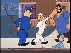 Popeye stops himself from punching Brutus when a policeman arrives. Swee'Pea looks on | Popeye the Sailor: Strange Things Are Happening (1961) | Keywords: Seymour Kneitel (director)