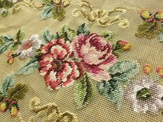 45-Vtg-PREWORKED-Needlepoint-Canvas-BENCH-Cover-FRENCH-Pink-Rose-Peach-Peony