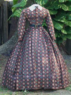 Original Civil War Era Summer Autumn Dress C 1864 Victorian Gown, Victorian Costume, Victorian Fashion, 1800s Clothing, Historical Clothing, Antique Clothing, Historical Costume, Vintage Gowns, Vintage Outfits