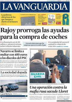 Los Titulares y Portadas de Noticias Destacadas Españolas del 26 de Enero de 2013 del Diario La Vanguardia ¿Que le parecio esta Portada de este Diario Español?