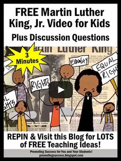 Martin Luther King, Jr. Day for Kids - Here is a short three minute video to help elementary students learn an overview of Martin Luther King's life.