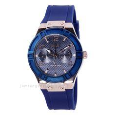 Guess blue, jam tangan wanita karet warna biru dan rose gold istimewa.
