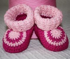 Crocheted 'Peony Baby Booties' ~ So cute!