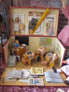 French school room set, including some life-sized school supplies.