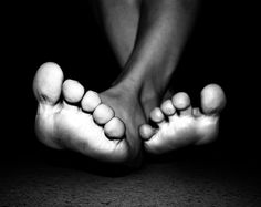 Feet in black and white.