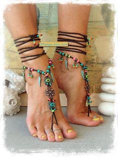 BOHO chic barfuss Sandalen bunte Sommer Fußschmuck von GPyoga