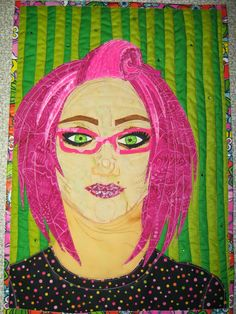 Whimsical self portrait. I used floral duct tape instead of a binding to finish the quilt.