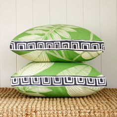 Green Leaf Squares - Boxed square cushion pillow cover