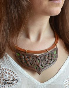 Polymer clay necklace with imitation for leather