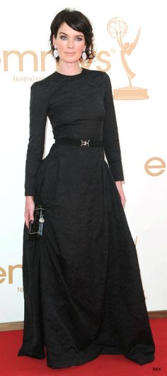 Lena Headey at Emmys    Black Evening Gown with long sleeves