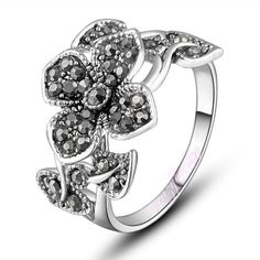 Hot sale marcasite ring Leaf Flower Ring fashion wedding jewelry hot sale R704 | eBay