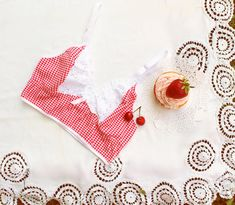 Red Gingham Cotton and Lace Longline Bralette Cropped Camisole 'Picnic' Sleepwear Handmade to Order Limited Edition